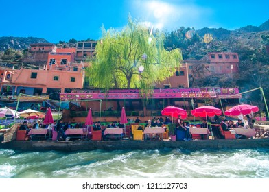 Ourika/Morocco - March 2018: Local tourists are at a traditional restaurant next to the river in Ourika valley.