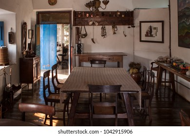 Ouro Preto, Brazil - August 15 2010: The kitchen and dining table of a normal household in this small colonial town.