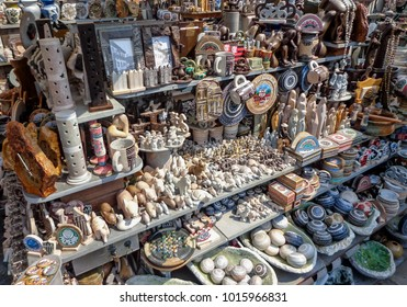 Ouro Preto, MG, Brazil, september 15, 2016 - Stand selling soapstone based craft work on Largo de Coimbra's Arts Market