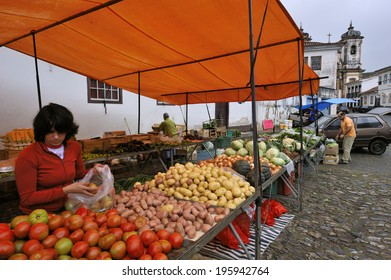 Ouro Preto, Minas Gerais, Brazil -� March. 9. 2008: market, Ouro Preto, a former colonial mining town in state of Minas Gerais, famous for gold rush in 17th century, now Unesco World Heritage site