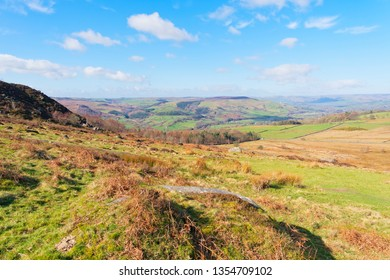 Out across the hills and moors of the Derbyshire Peak District on a bright spring morning