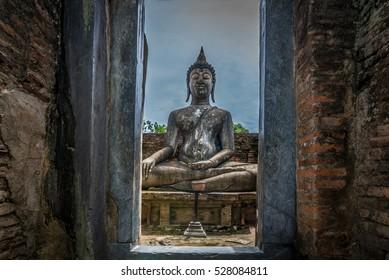 Out door view Ancient buddha statue. Wat si chum. Sukhothai Historical Park, Sukhothai Province, Thailand