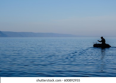 Out for fishing on lake Baikal