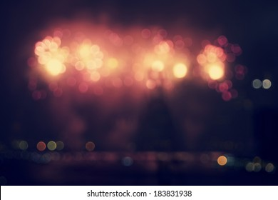 Out of focus Celebration Fireworks background