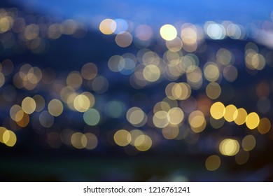 Out of Focus picture of City Lights of evening Drammen in Norway.