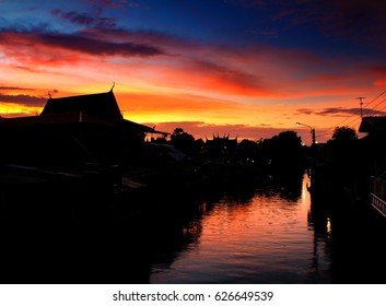 Out of focus of silhouette  Bang Luang Canal  at Sunset in bangkok,thailand