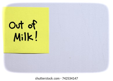 Out of Milk! Message on sticky paper