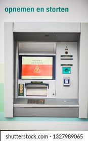 out of order ATM from ABN AMRO. In the centre of Amsterdam - Netherlands - 2 march 2019