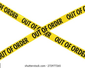 OUT OF ORDER Barrier Tape Cross