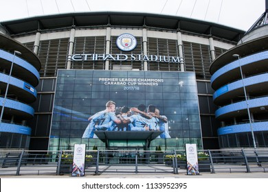 Out side in cloudy day at Etihad Stadium of Manchester City Football Club in Manchester, England on April 29, 2018.