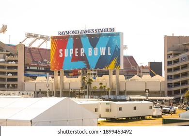 Out side the stadium of Super Bowl LV at the Raymond James Stadium in Tampa, Florida January 21, 2021