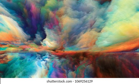 Out of This World series. Interplay of surreal landscape elements and fractal colors on the subject of imagination, creativity and art