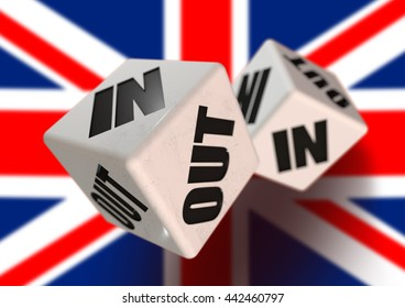In or Out vote on dice for countries leaving the European Union with flag in the background. Concept for citizens voting for independence and exiting the EU. 3D Illustration.