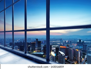 Out of the window of the big city at night
