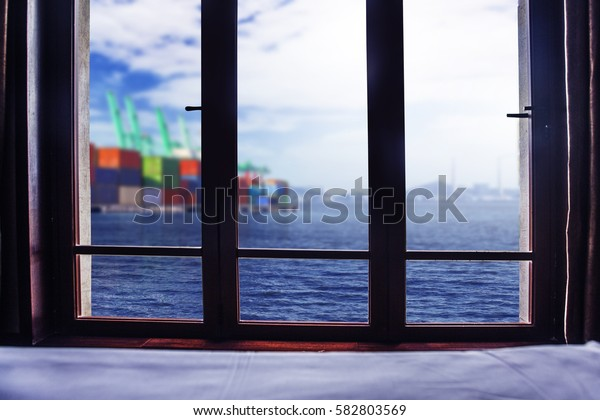Out of the window, the pier outside the window