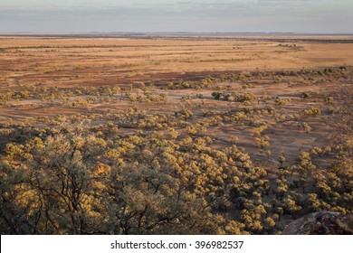 Outback Australia in drought conditions, dry and dusty.