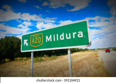 Outback Australian Road Signage with directions to Mildura on major high speed highway
