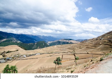 Outback countryside in China,foreground have yellow field and background had mountain,small hut