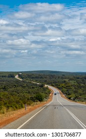 Outback road in Western Australia winding along the coast though the bush of Western Australia