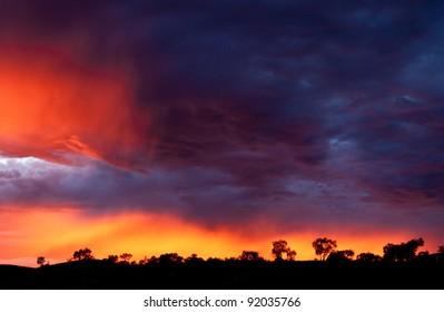 Outback sunrise over the Karijini National Park in Western Australia, Australia