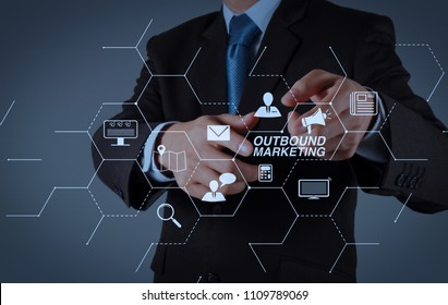 Outbound marketing business virtual dashboard with Offline or interruption marketing.Businessman hand pressing an imaginary button on virtual screen