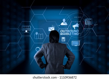 Outbound marketing business virtual dashboard with Offline or interruption marketing.businessman working with new computer.