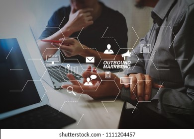 Outbound marketing business virtual dashboard with Offline or interruption marketing.Business team meeting. Photo professional investor working new start up project. Finance task.