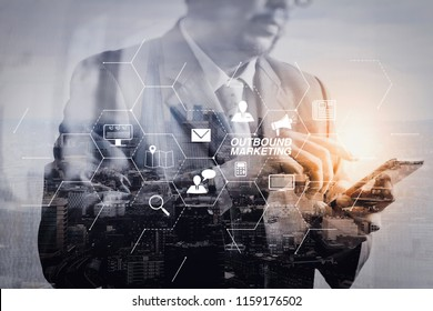 Outbound marketing business virtual dashboard with Offline or interruption marketing.Double exposure of success businessman using smart phone with London building,city,front view,filter effect