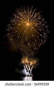 Outbreaks of fireworks in the night sky