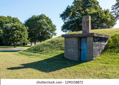 An outbuilding on the grounds of Fort Monroe in Hampton, Virginia.