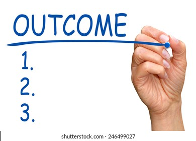 Outcome - Checklist with female hand and blue pen on white background