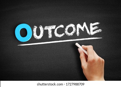Outcome text on blackboard, business concept background