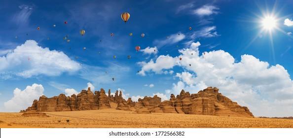 Outcrops near Mada'in Saleh during the Tantora Hot Air Balloon Festival, Al Ula, Saudi Arabia