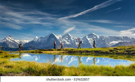 Outdoor activities in the Swiss Alps, Bernese Oberland, Switzerland.
