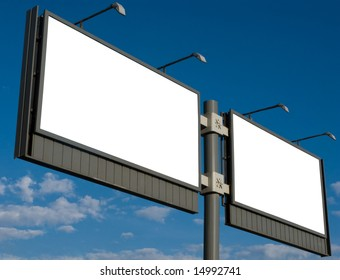 Outdoor advertising billboard with blank space for text