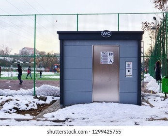 Outdoor automatic public toilet, self-cleaning and disinfection system with wheel chair accessibility in Cluj-Napoca, Romania - January 27, 2019.
