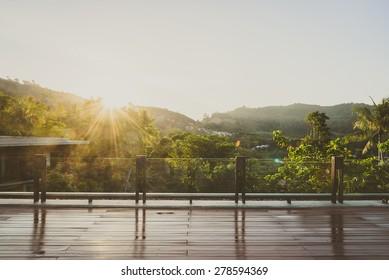 Outdoor balcony deck - vintage filter