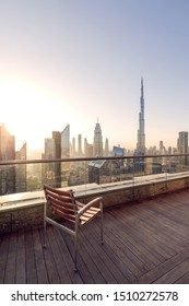 Outdoor balcony of luxury hotel in Dubai UAE.