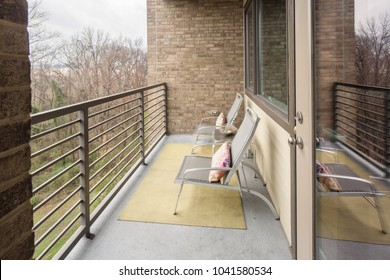 outdoor balcony with metal rail