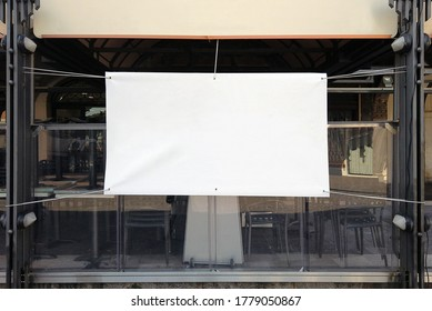 outdoor banner pvc white advertising space mockup