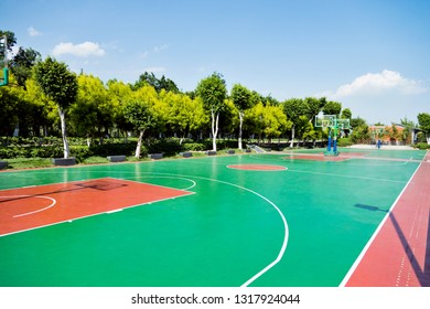 Outdoor  basketball court with nobody.