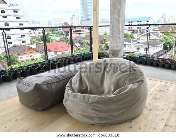Cool Outdoor Beanbag On Rooftop Floor Stock Photo Edit Now Cjindustries Chair Design For Home Cjindustriesco