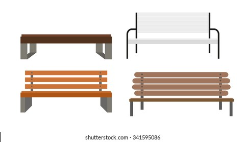 Outdoor Bench Icon Set Illusrtarion