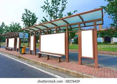 Outdoor billboard image. Blank white background for marketing messages at bus stop.