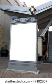Outdoor blank sign on sidewalk
