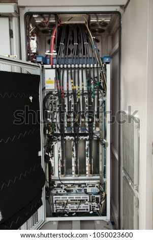 outdoor cabinet wiring diagram servers switches stock photo (editoutdoor cabinet wiring diagram for servers and switches are located in the server room of the