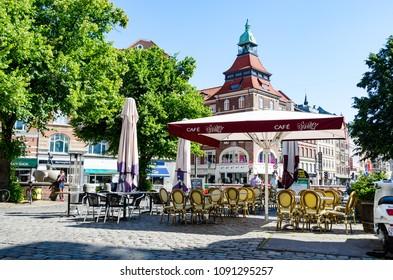 Outdoor Cafe at the centre of Copenhagen Denmark, July 2017