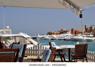 Outdoor cafe on harbor in El Gouna, Red Sea, Egypt