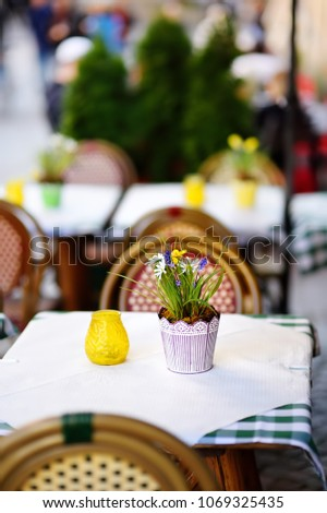 Outdoor Cafe On Sunny Spring Day Stock Photo Edit Now 1069325435