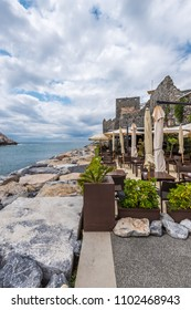 Outdoor cafe in the resort city of Portovenere, Italy
